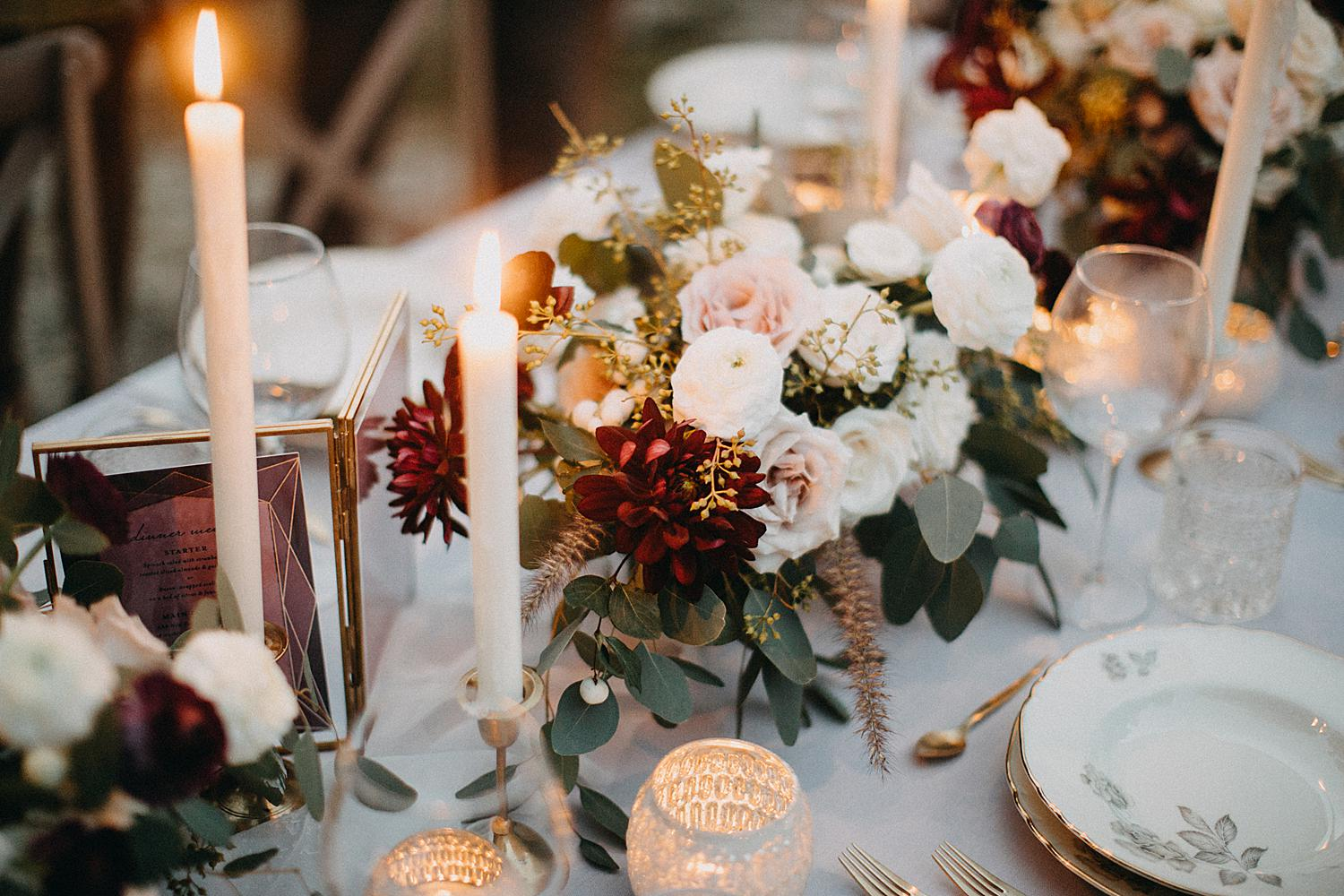 flower bouquet on wedding table