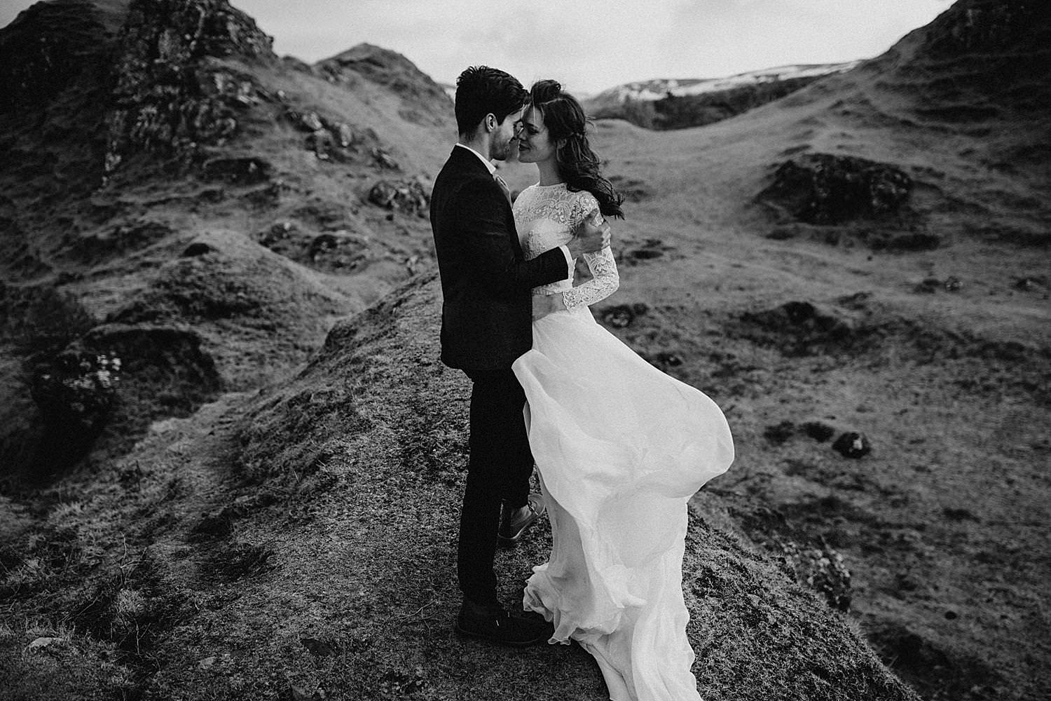 wedding couple hug in mountain Isle of Skye
