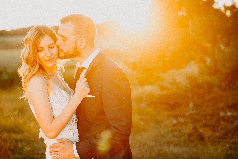 bruidegom kust bruid zonsondergang Lommelse heide