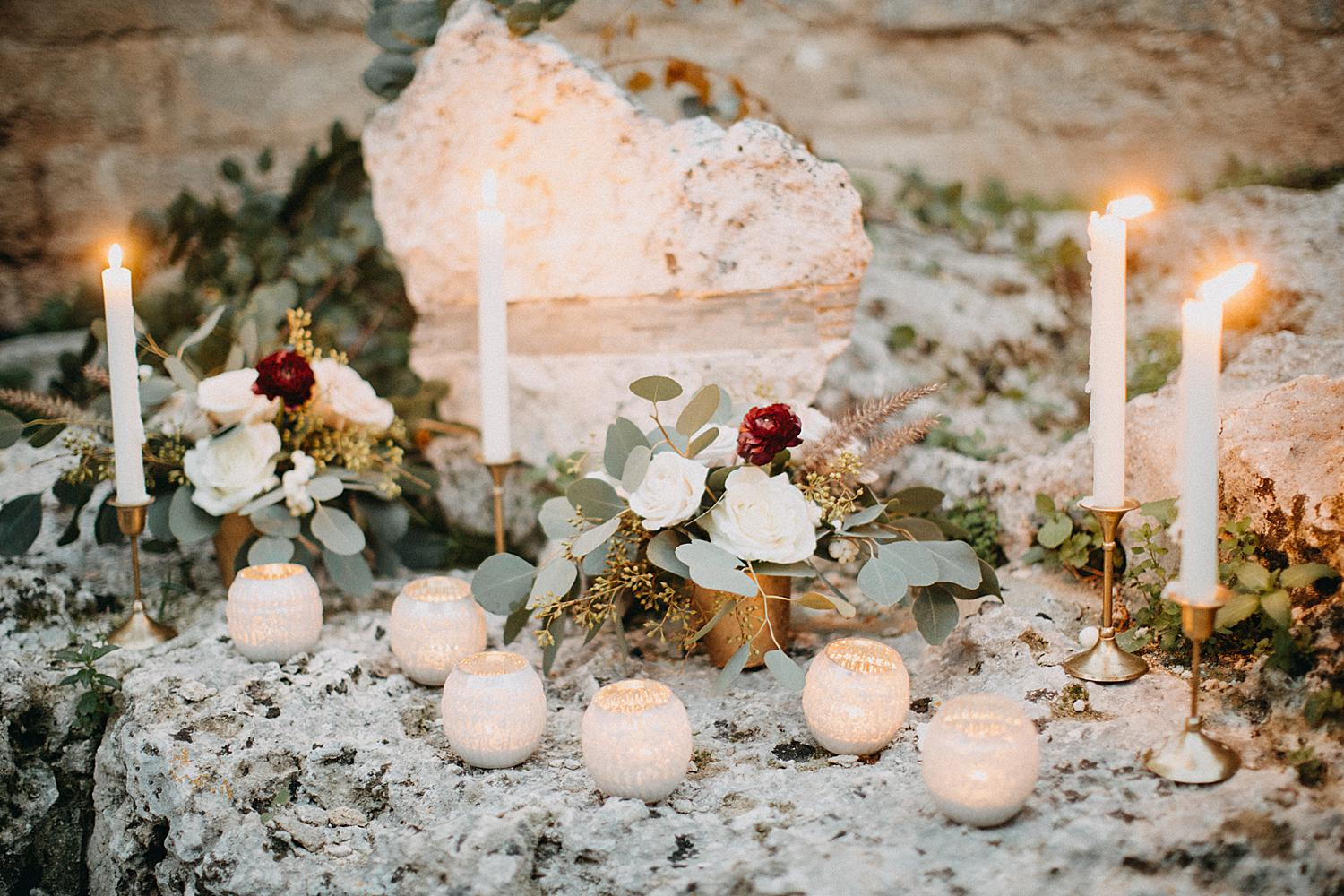 candles and flower for wedding