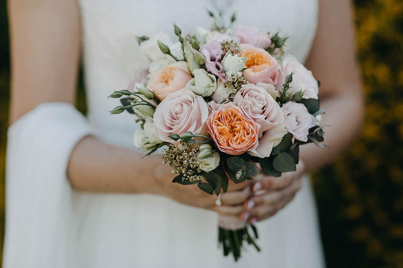 Marke huwelijk details bruidsboeket