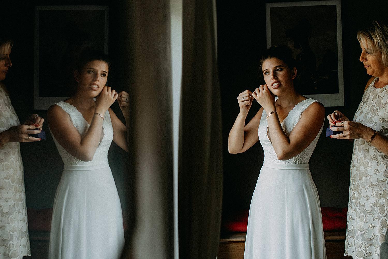 oorringen aankleden bruid huwelijk Ardennen