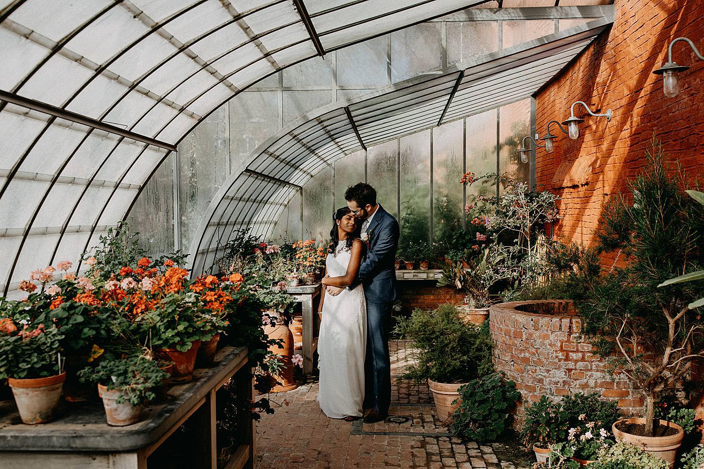 portret bruidspaar serres kruidtuin Leuven