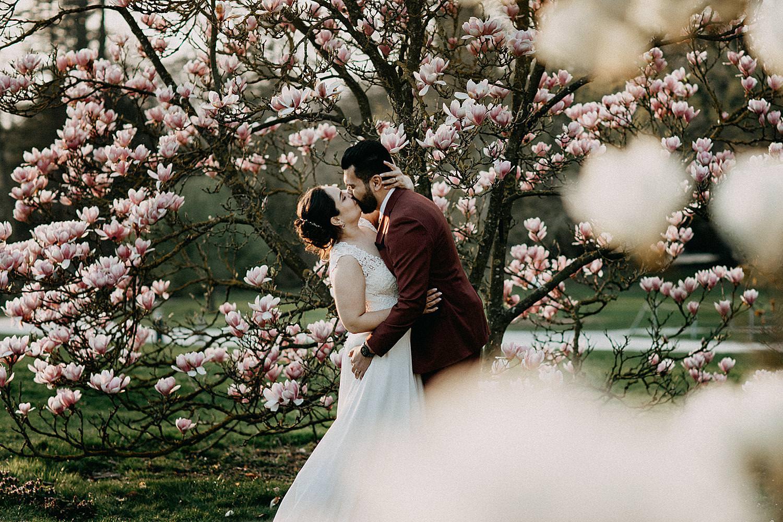 bruidspaar voor magnolia's plantentuin Meise