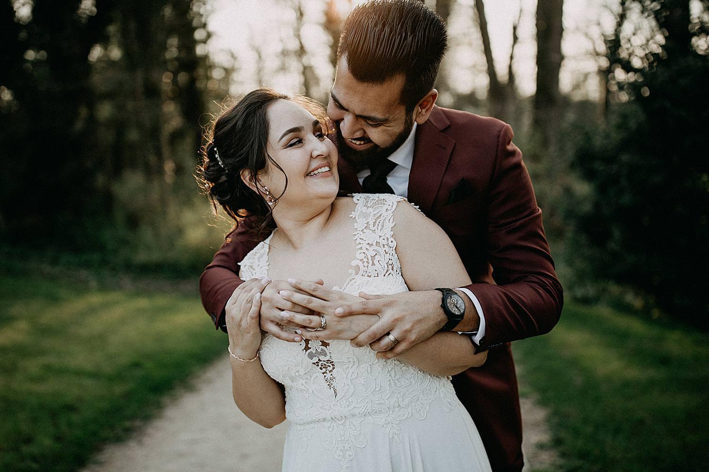 knuffel bruidspaar zonsondergang plantentuin Meise