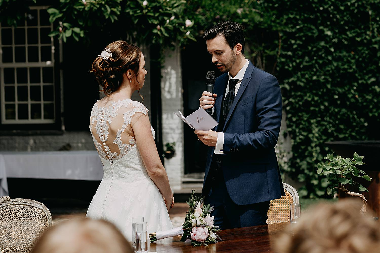 Ja-woord bruidspaar buitenceremonie