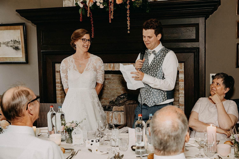 Den Hof huwelijk speech bruidspaar