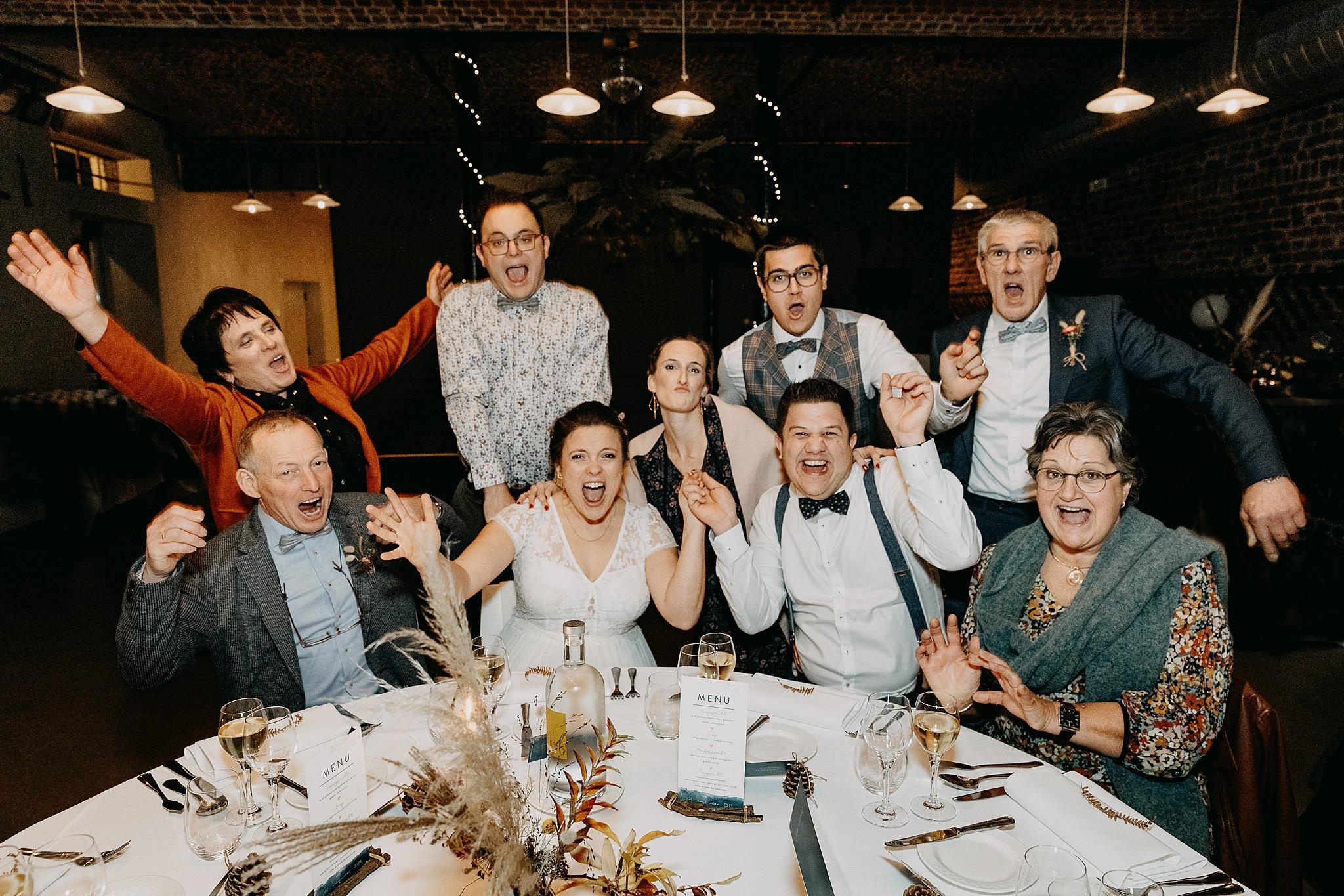 Groepsfoto's eretafel huwelijk Aulnenhof