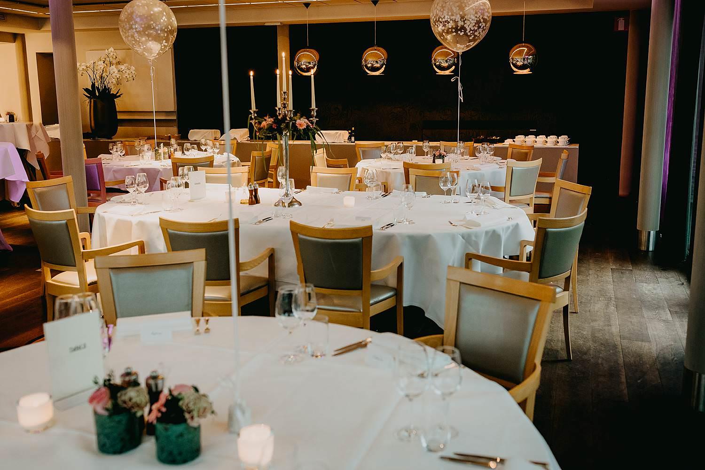 Stiemerheide feestzaal gedekte feesttafel