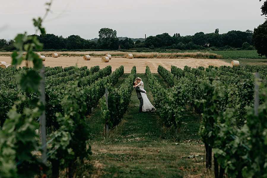 Wijngaarden wijnkasteel Genoelselderen met bruidspaar