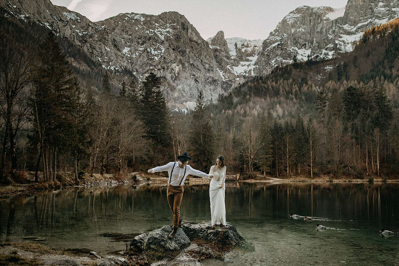 Koppel meer Ebensee Oostenrijk
