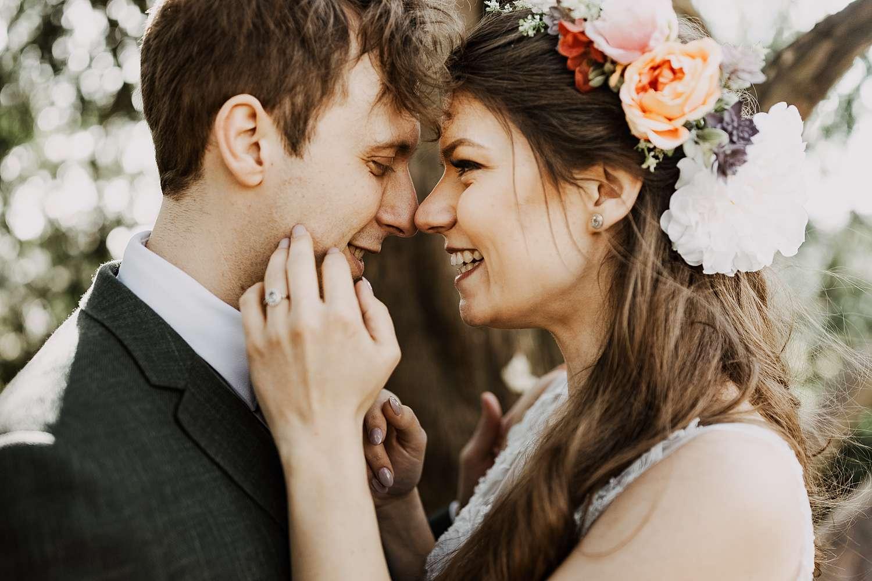 Portret close-up bruidspaar park van Brasschaat
