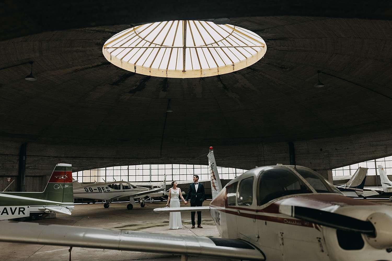 Huwelijk in Grimbergen vliegveld